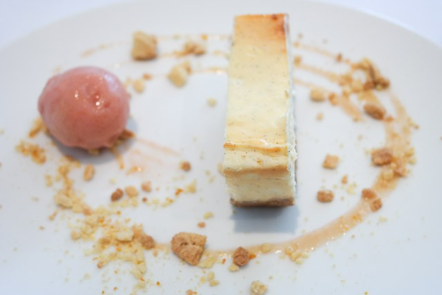 Baked Cheesecake with Rhubarb Ice-cream - East Coast Dining Room, Tankerton nr Canterbury, Kent