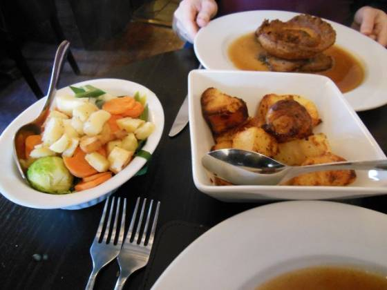 Bo Peep Restaurant Chelsfield in Bromley, Kent - Roast Potatoes and Vegetables