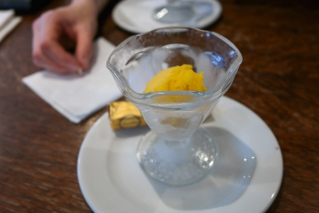 Child's Mango Sorbet - The British Queen Brasserie, Farnborough in Bromley, Kent