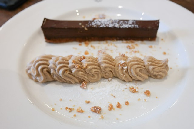 Chocolate Delice with Praline Cream and Crushed Nougat - The British Queen Brasserie, Farnborough in Bromley, Kent