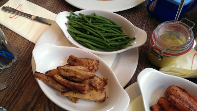 Sophies Steakhouse, Covent Garden in London - Honey Roasted Parsnips and Green Beans