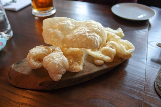 The Anchor in Ripley, Woking - Puffed Pork Skin & Baked Apple Sauce
