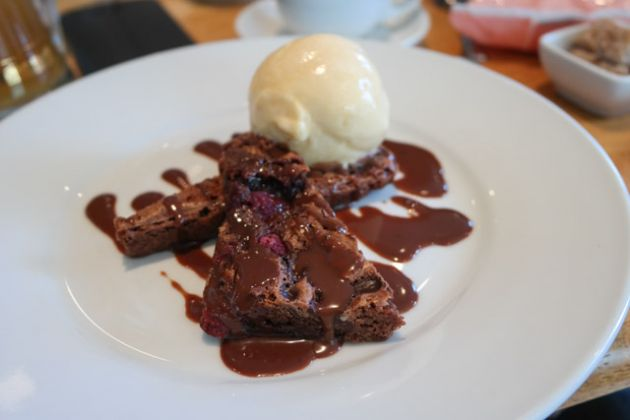 The White Cliffs, Dover, Kent - Chocolate Brownie with Maripan Ice Cream