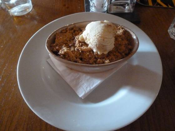The Black Swan, Ockham - Apple & Blackberry Crumble with Ginger & Rhubarb Crumble